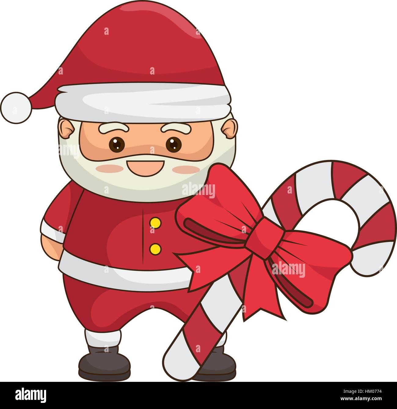 Joyeux Noël Père Noël Kawaii Character Vector Illustration