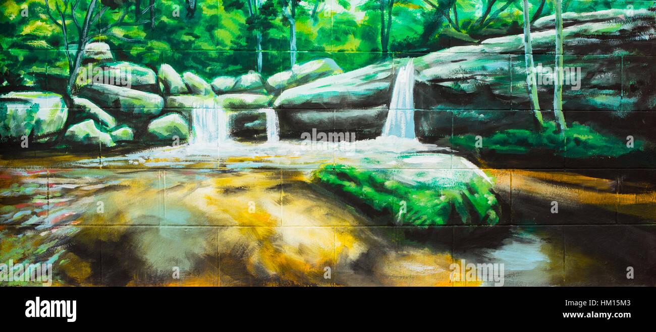 Cascade Vintage Peinture à L Huile Sur Mur Banque D Images