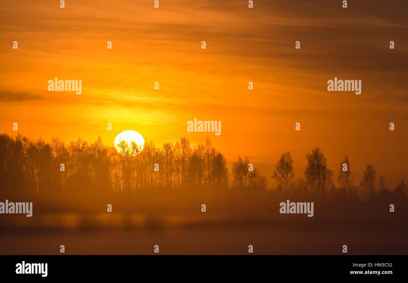 Coucher du soleil d'hiver brumeux en Finlande Banque D'Images