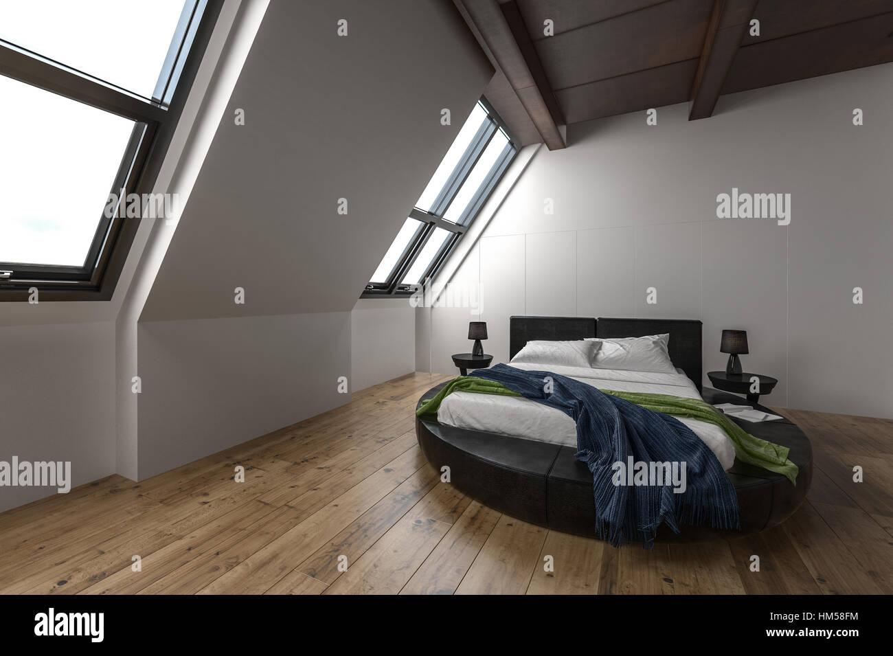 cet appartement mansardé moderne avec windows de l'incliné et rare