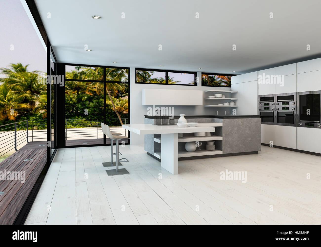 Large White Plan Ouvert Salon Avec Cuisine Minimaliste Dans Une