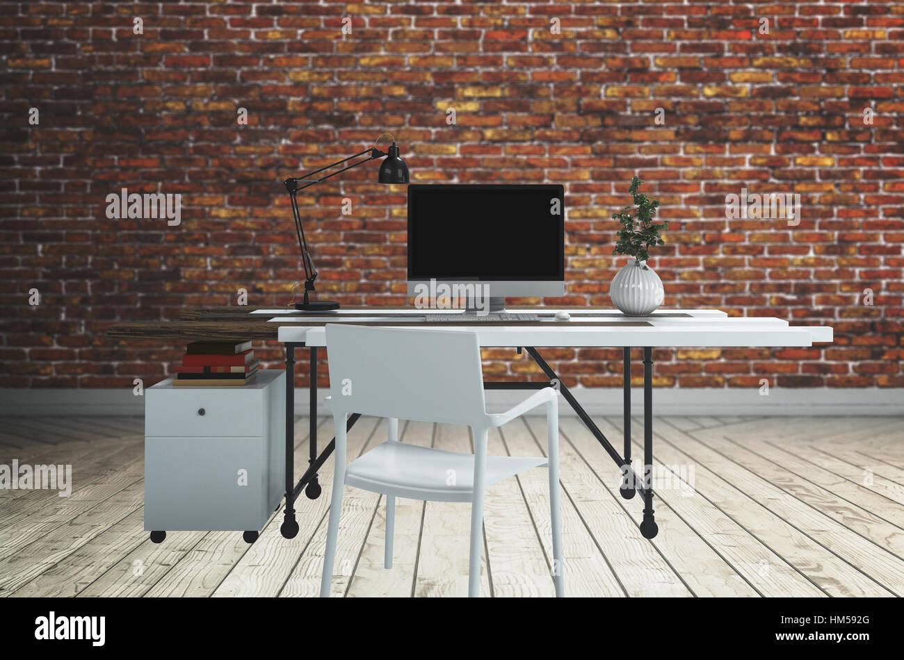 Ordinateur blanc bureau avec lampe et chaise avec plante debout