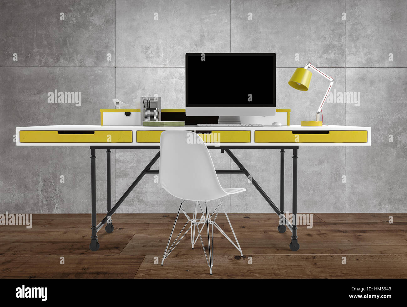 Vue avant du bureau mince bureau avec tiroirs jaune et lampe