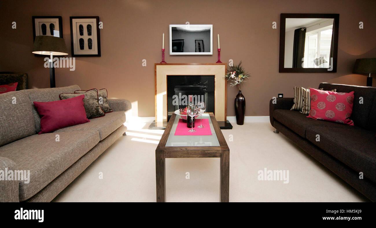 Salon Marron Et Beige Photos l'intérieur moderne salon avec canapés bas, en marron et