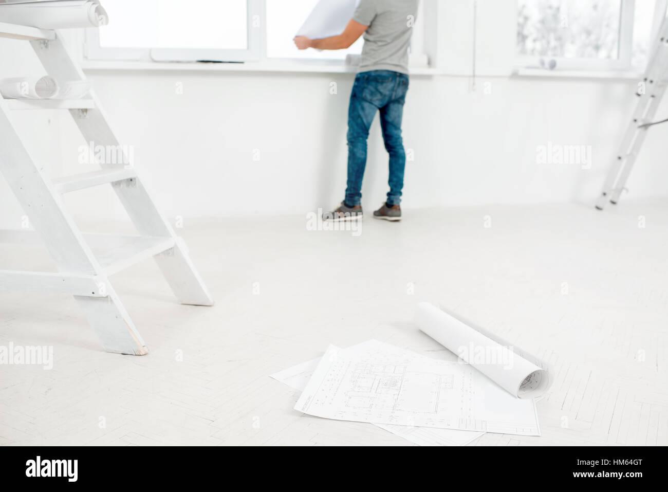 Pour la rénovation de l'intérieur blanc Photo Stock