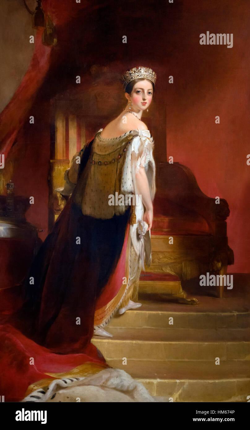La reine Victoria, portrait par Thomas Sully, huile sur toile, 1838. Photo Stock
