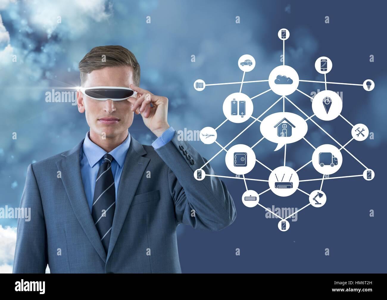 Man Virtual Reality Glasses Icon Photos   Man Virtual Reality ... 8e8cf7ddf53f