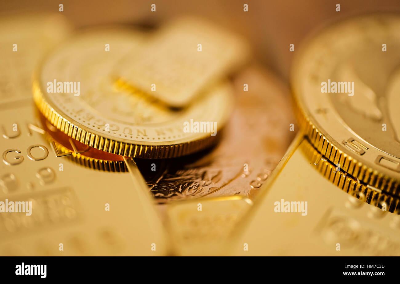 Close-up de pièces d'or Photo Stock