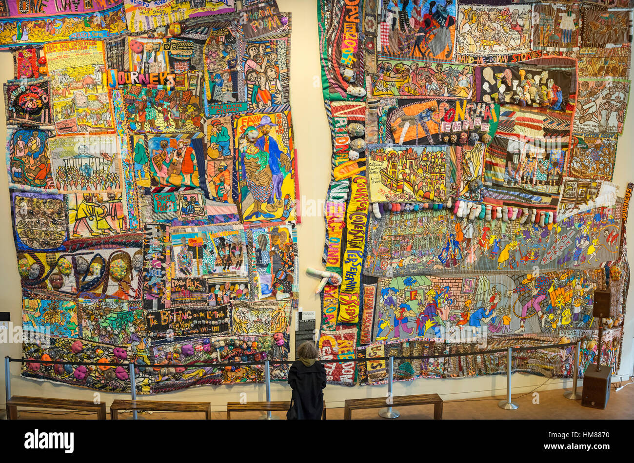 Cincinnati, Ohio - Art Textile Voyages, I et II, par Amina Brenda Lynn Robinson au National Underground Railroad Photo Stock
