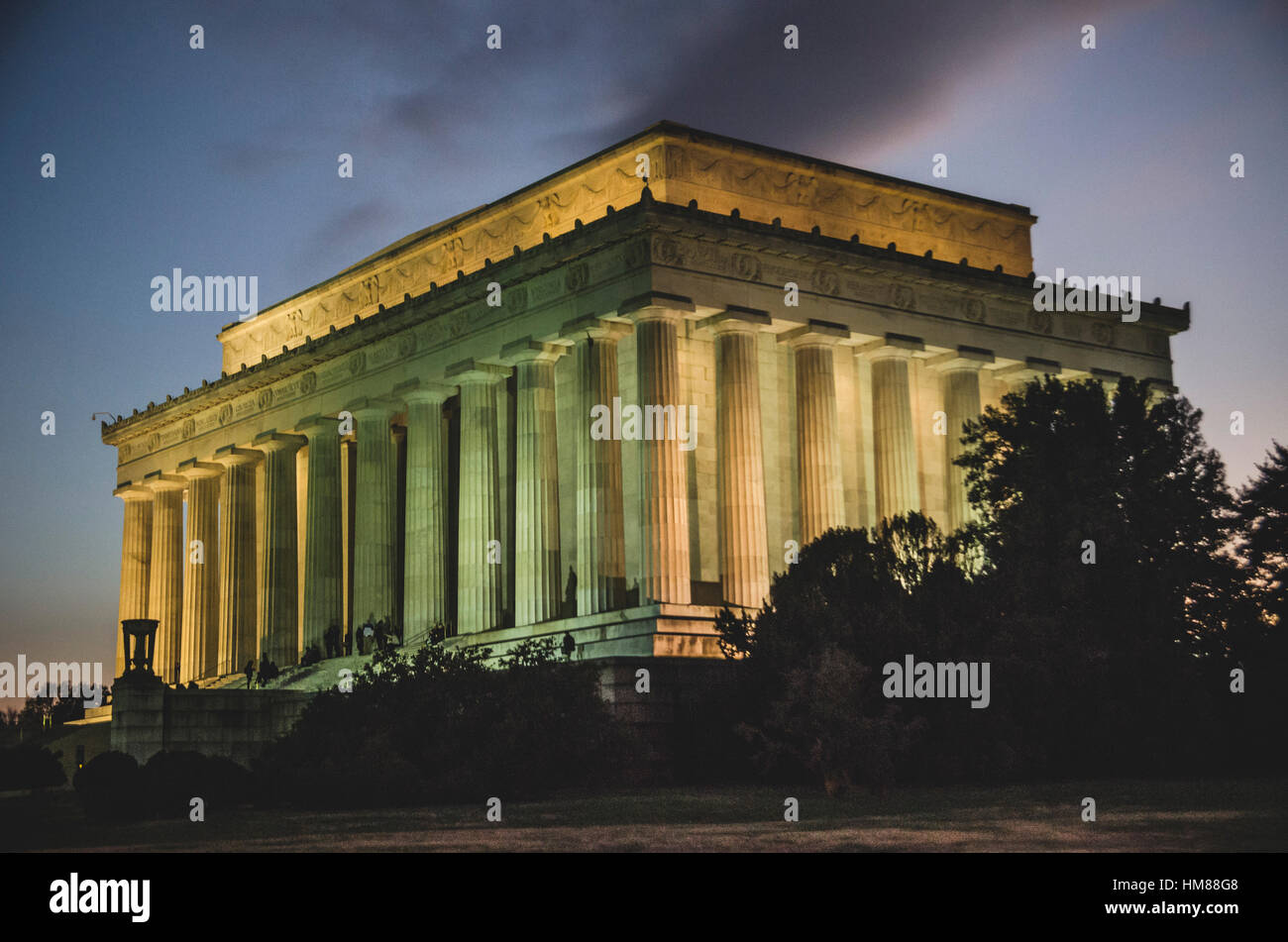Lincoln Memorial Protections Extérieures au crépuscule, Washington, DC, USA Banque D'Images