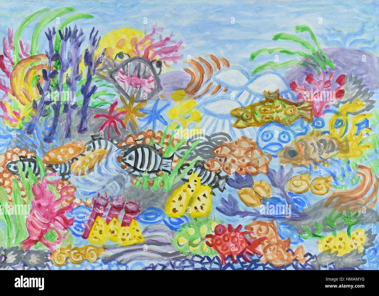 paysage sous-marin avec récif de corail. peinture acrylique