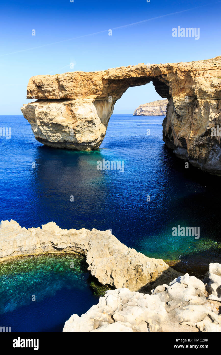 Le Blue Hole et fenêtre d'azur, Gozo, Malte Photo Stock
