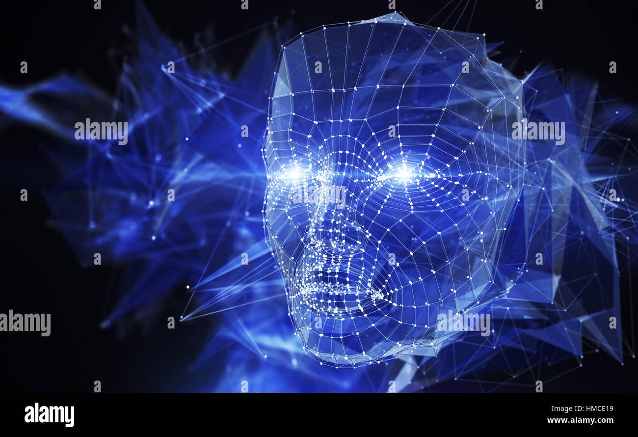 Concept du réseau de neurones. 3D illustration Photo Stock
