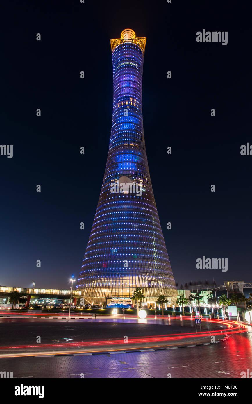 Aspire Tower, également connu sous le nom de la Torche Doha, Doha, Qatar Photo Stock