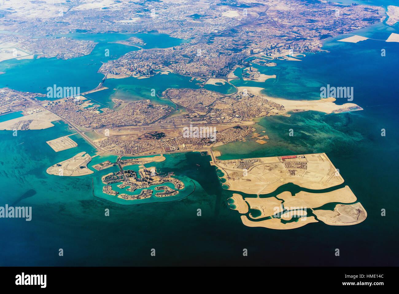 Vue aérienne de Manama, Bahreïn Photo Stock