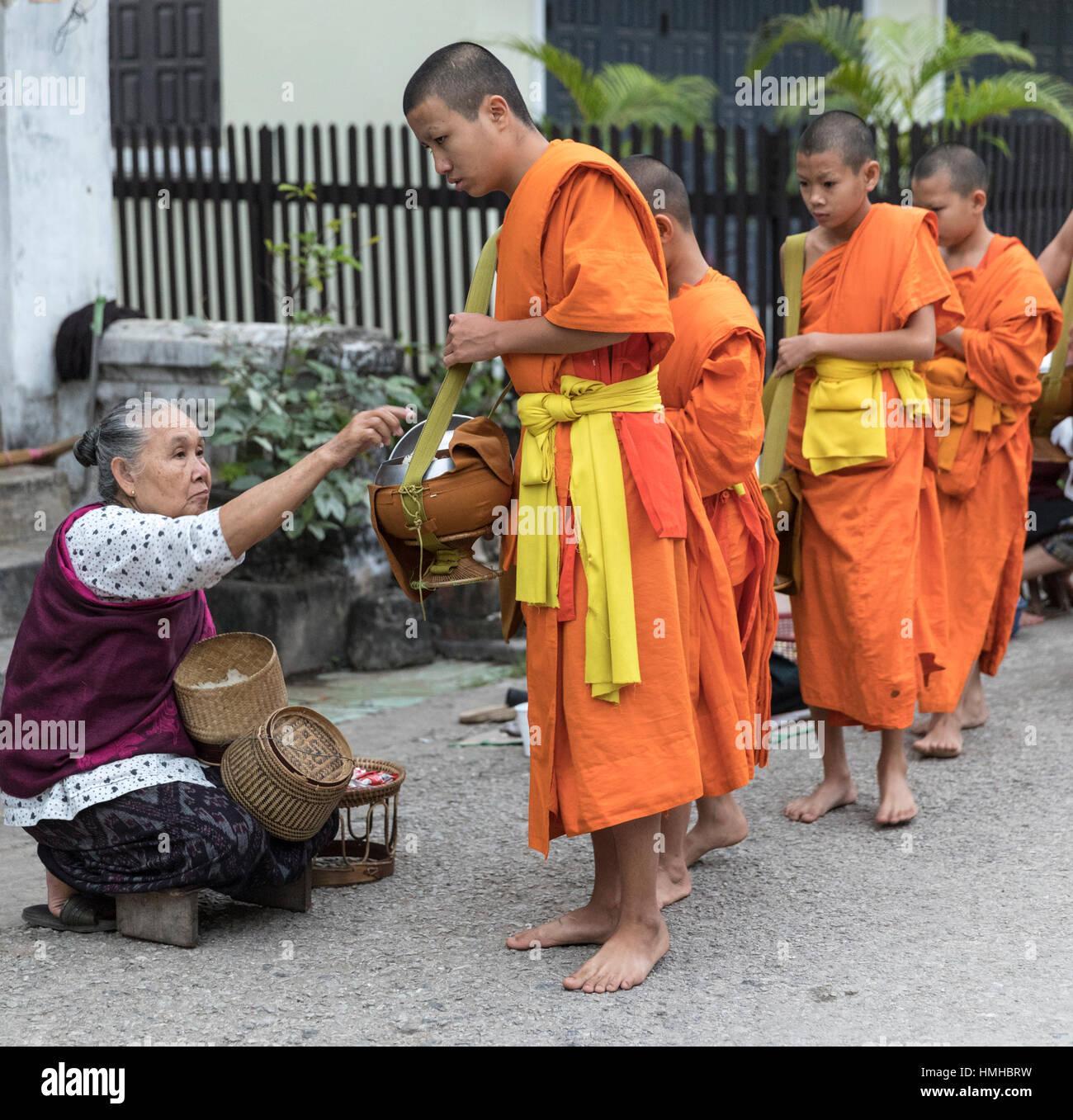 Les moines et les donateurs, tôt le matin, Procession d'aumône, Luang Prabang, Laos Photo Stock