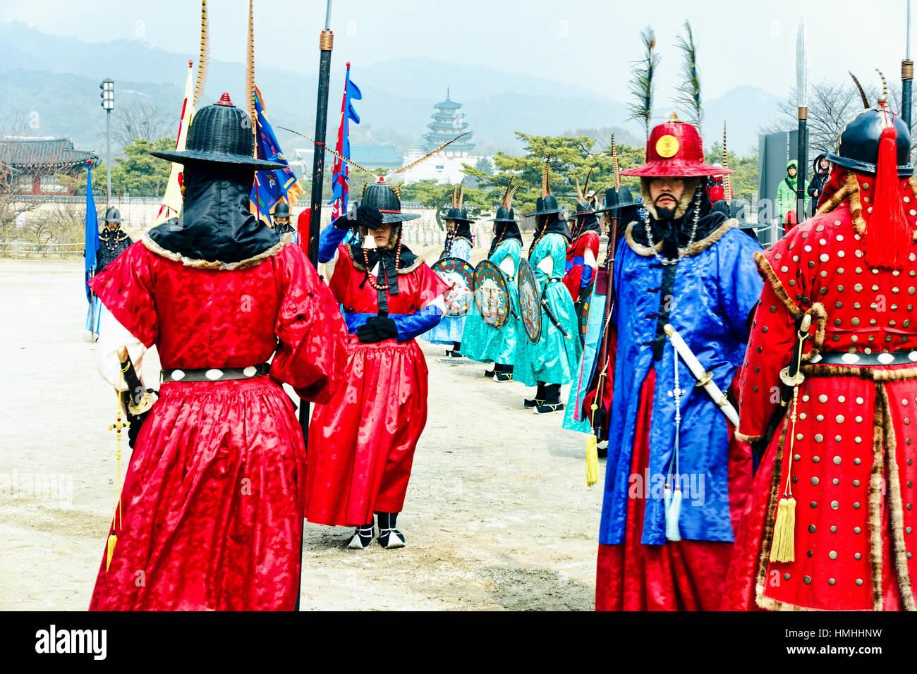 Cérémonie d'inspection de la Garde royale, Gyeongbokgung, Séoul, Corée du Sud Photo Stock