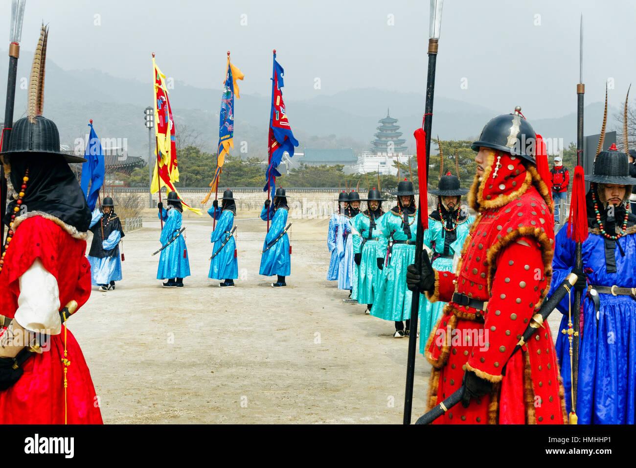 Cérémonie d'inspection de la Garde royale, Gyeongbokgung, Séoul, Corée du Sud Banque D'Images
