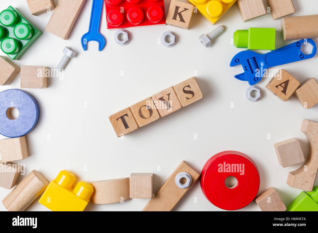 Mot Fond Bois Sur Blanc Enfants Jouets En Écrit CubesLes Jouet PXnN80wOk