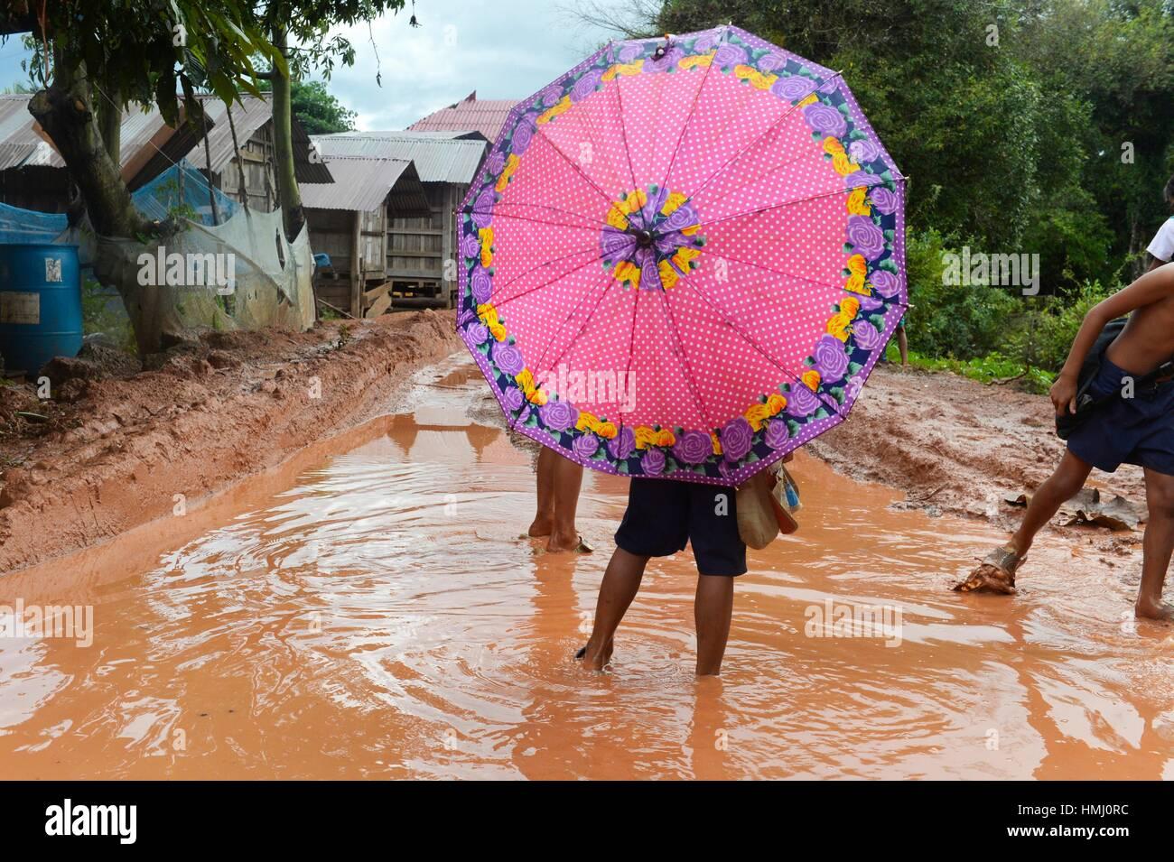 Le Mékong à Don Khon, Laos, Asie du Sud Est. Photo Stock