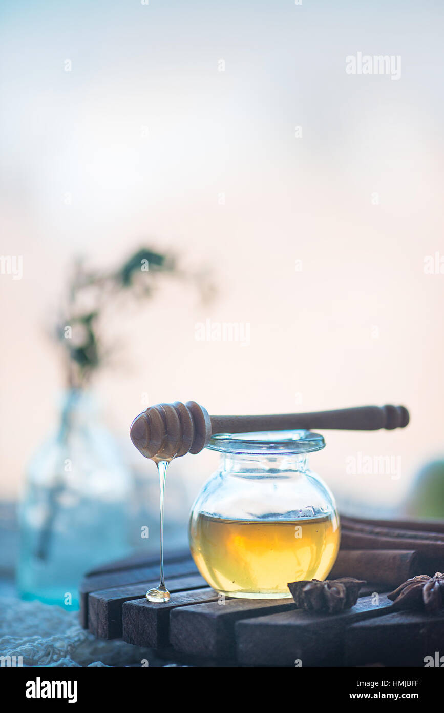 Miel biologique dans un bocal en verre Photo Stock