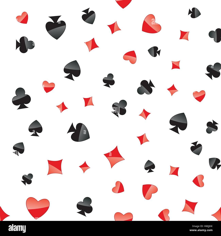 Cartes de jeu correspond à une tendance. Placé au hasard coeur, diamond club, chat sur fond blanc. Répéter Photo Stock