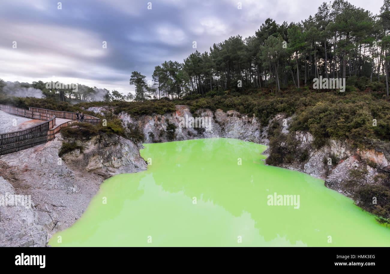 Green Devil's baignoire lac thermal à Wai-O-Tapu, thermique, Rotorua Waiotapu, de la région de Waikato, Nouvelle Banque D'Images