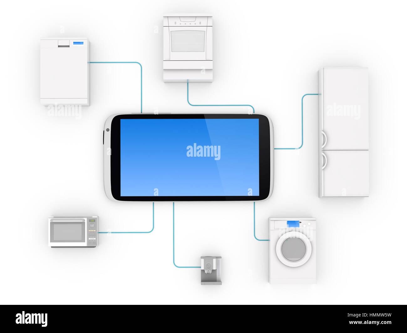 Internet des Objets - Appareils ménagers Concept smartphone connecté à Banque D'Images