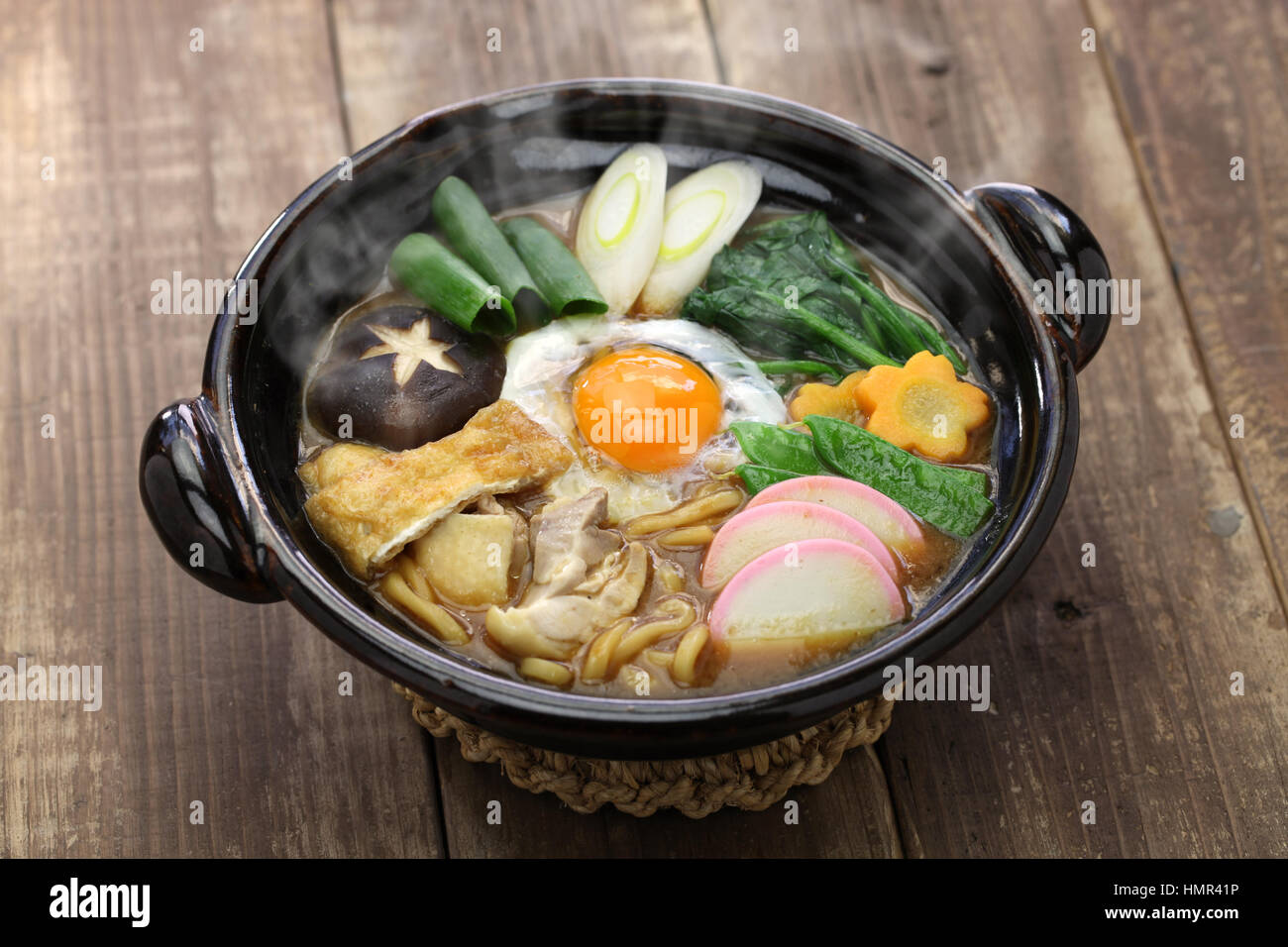 Le miso nikomi udon noodle soup, nourriture japonaise Photo Stock
