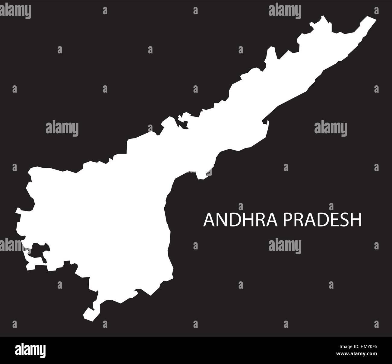 L'Andhra Pradesh Inde Site silhouette inversé noir Photo Stock