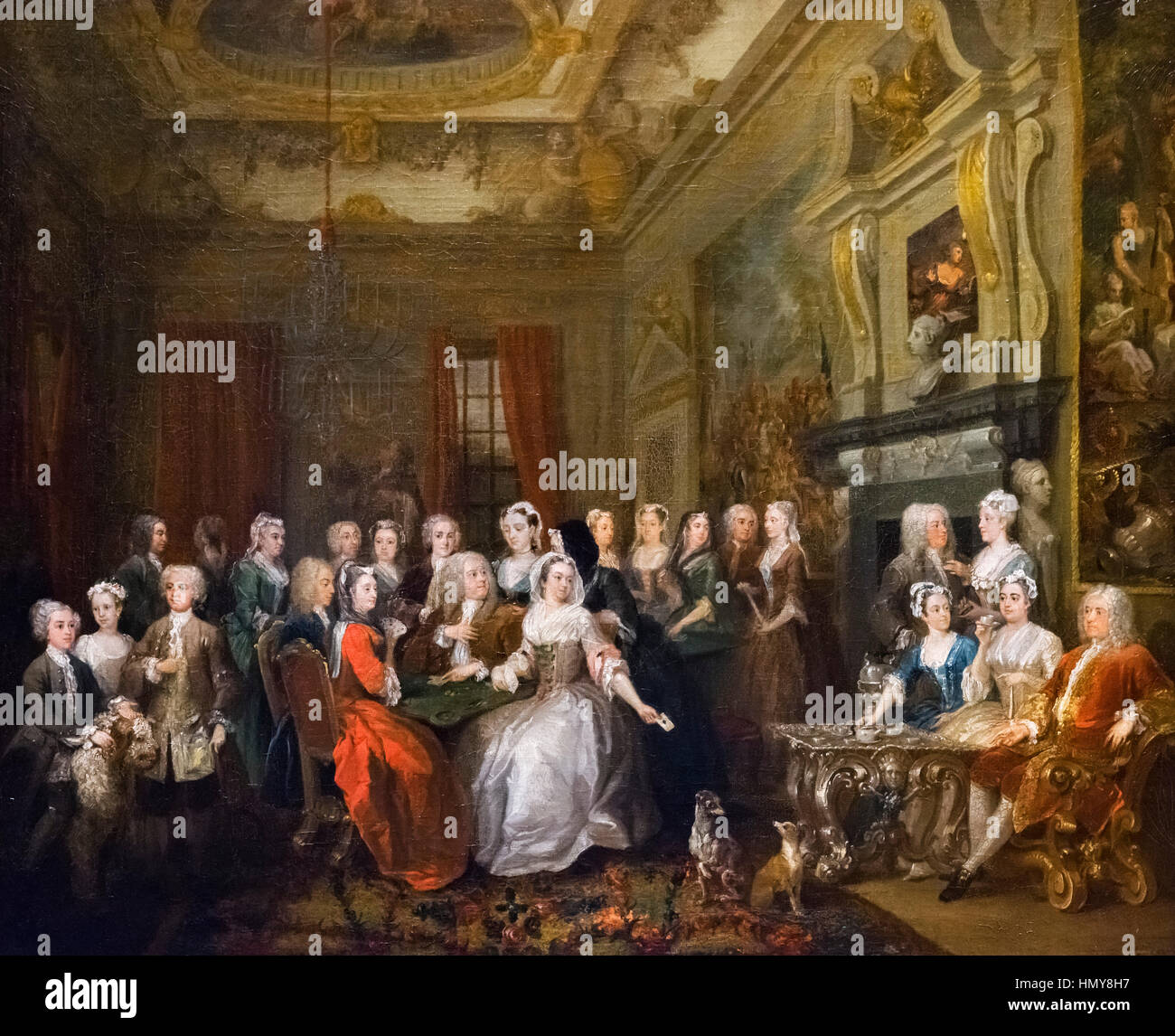 Hogarth painting. 'Assemblée générale à Wanstead House' par William Hogarth (1697-1764), Photo Stock