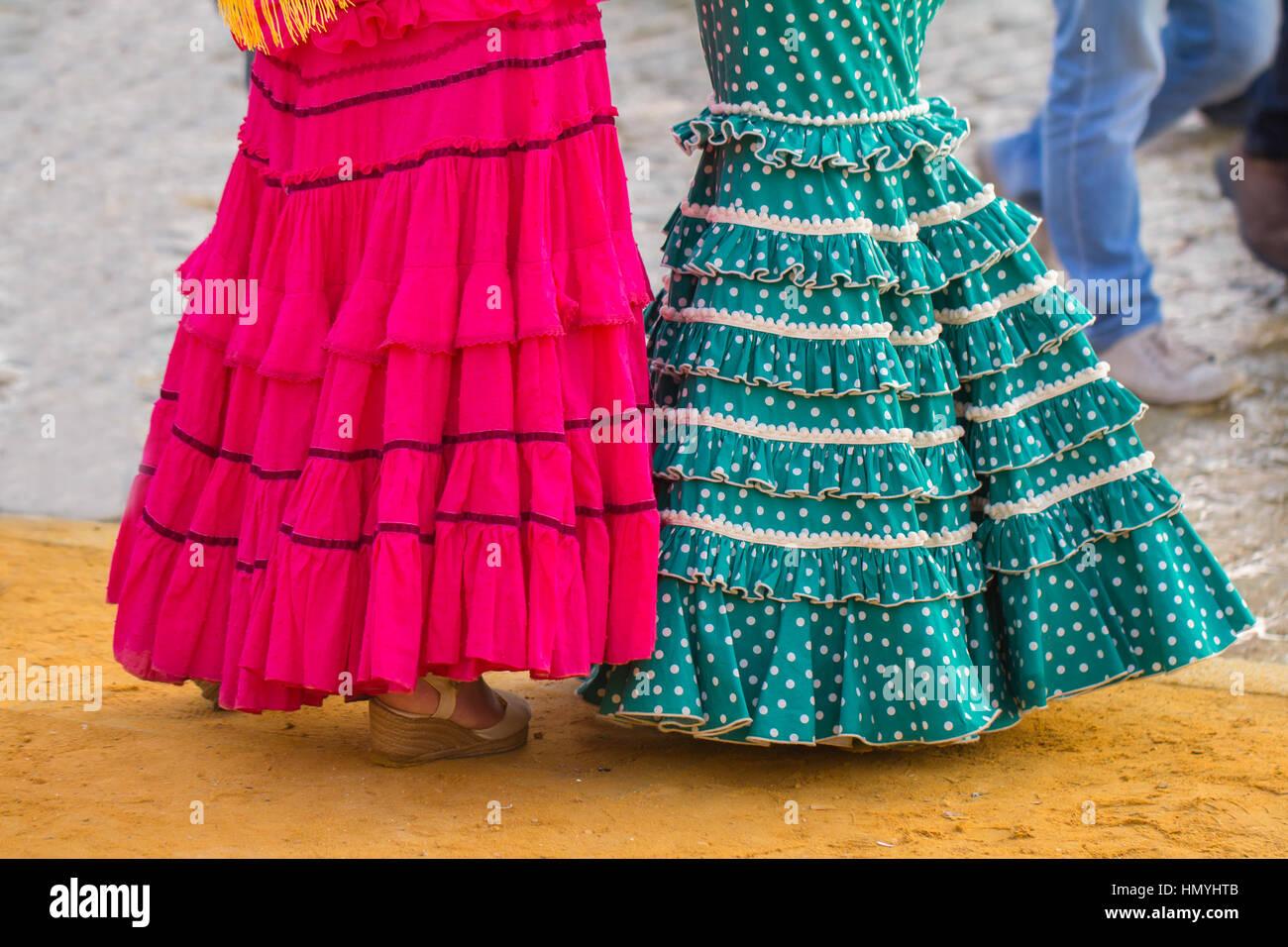 Femme robe flamenco Photo Stock
