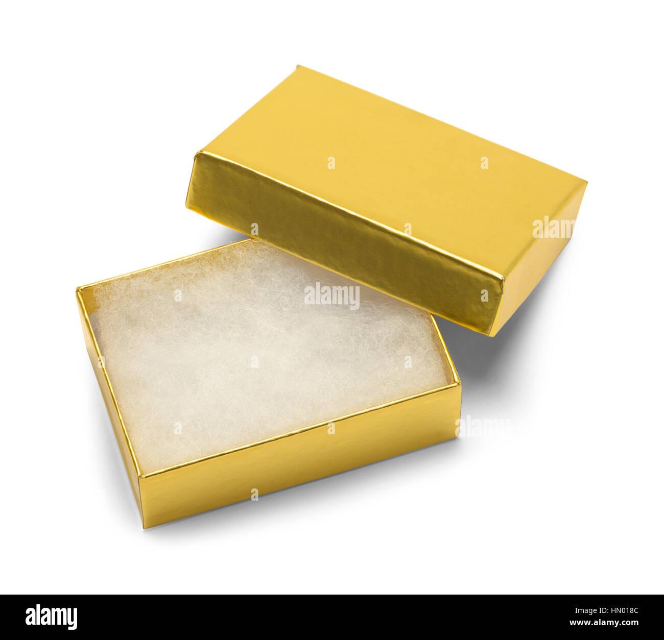 Boîte cadeau bijoux en or vide isolé sur fond blanc. Photo Stock