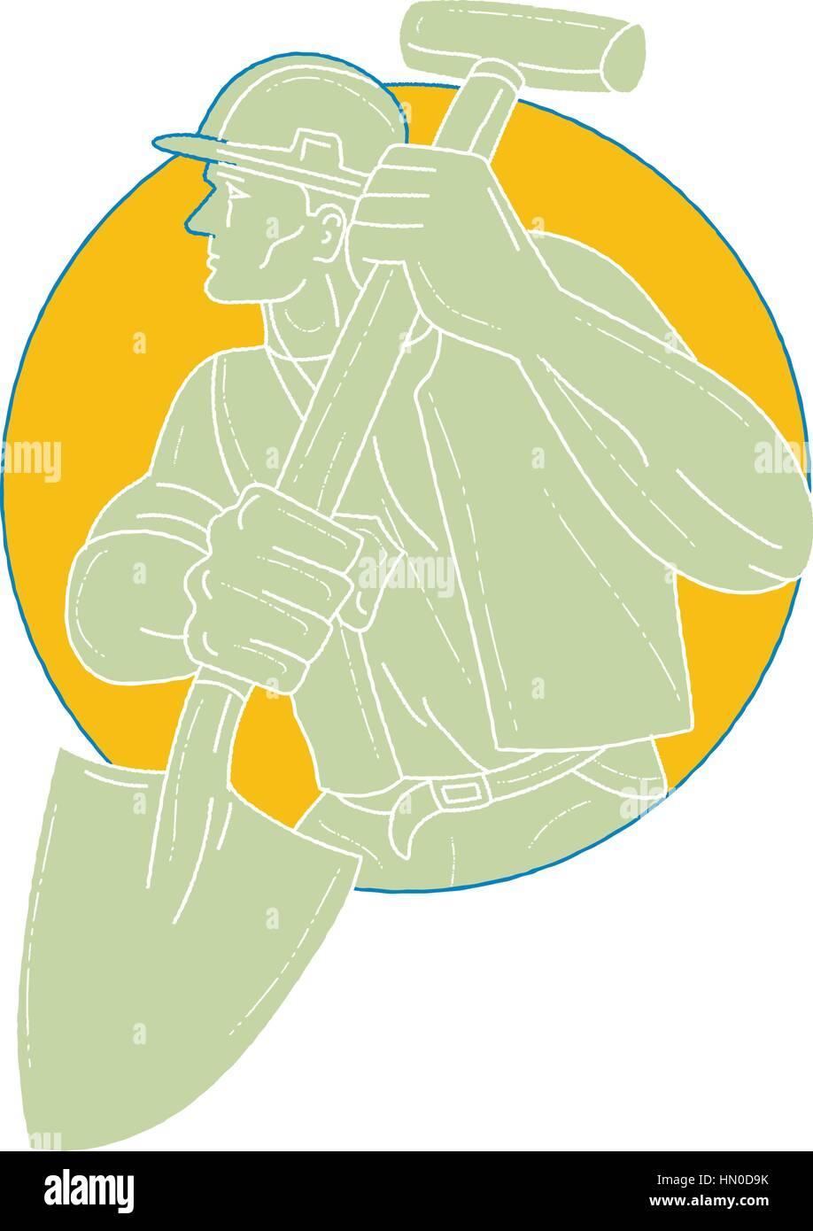 Style croquis dessin illustration d'une construction worker wearing hard hat holding à la pelle sur le Photo Stock