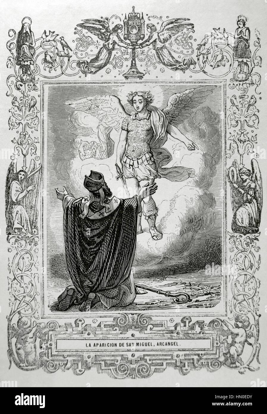 L'apparition de l'Archange Saint-Michel. Gravure de Capuz, 1852. Banque D'Images