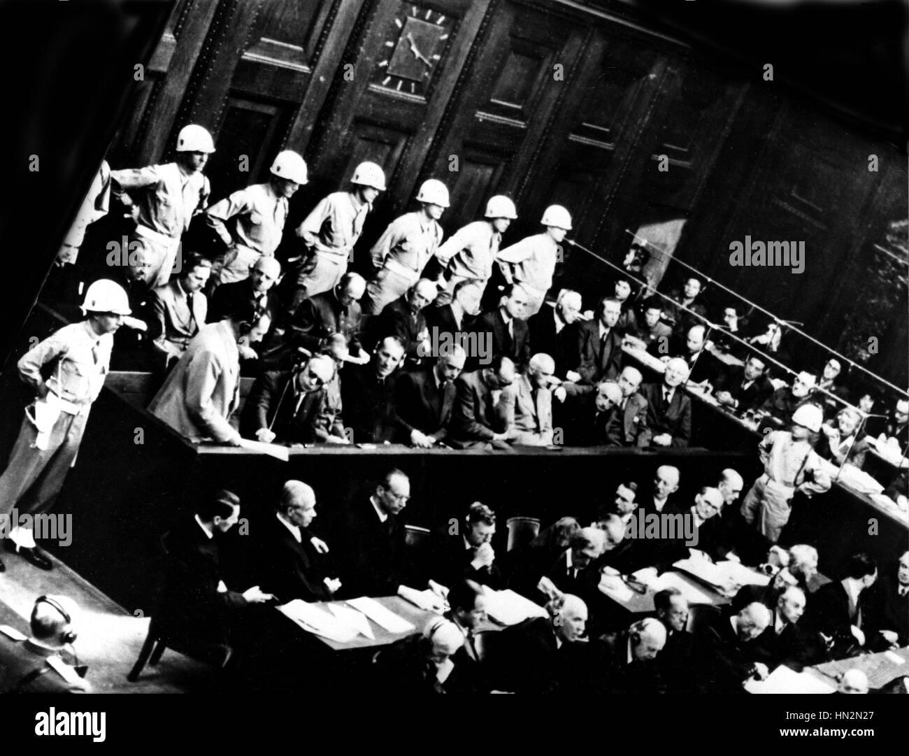 Le procès de Nuremberg: Goering parlant 1946 Allemagne, Seconde Guerre mondiale Guerre mondiale archives Photo Stock