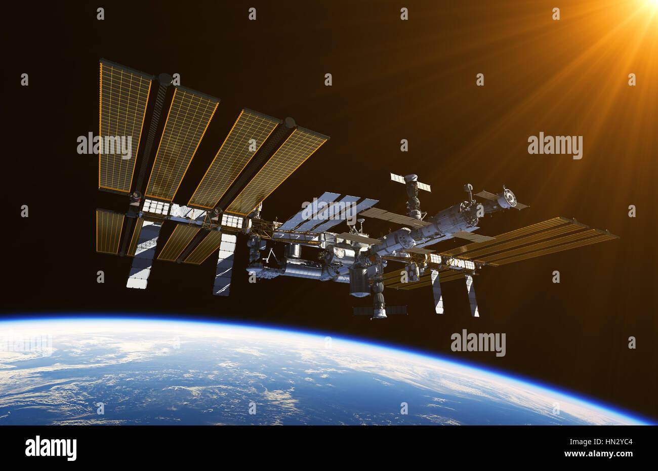 Station spatiale internationale dans l'espace Photo Stock