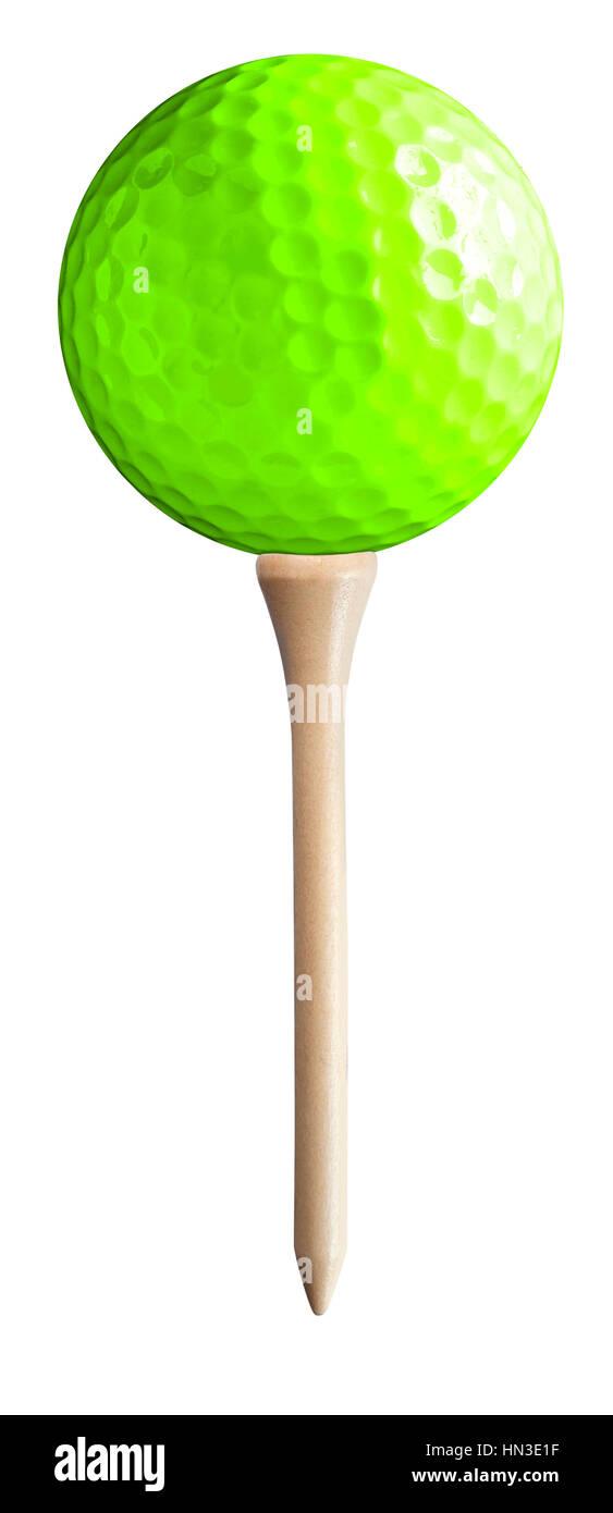 Balle de Golf onn Tee Photo Stock