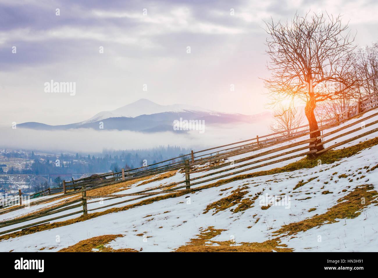 Le début du printemps dans les montagnes Photo Stock