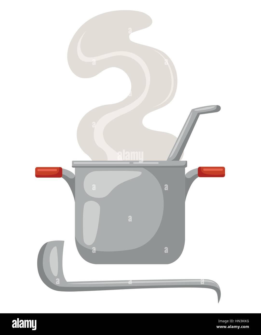 Dessin Casserole Cuisine casserole de dessin animé sur un fond blanc. des ustensiles de