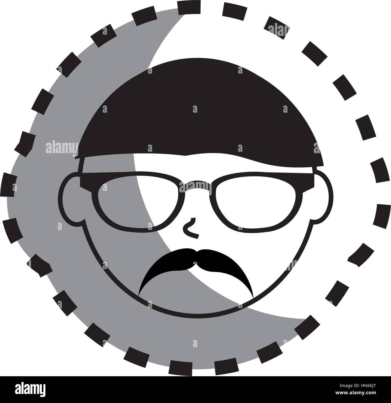 Autocollant avec visage homme monochrome avec lunettes et moustache mexicain style vector illustration photo stock