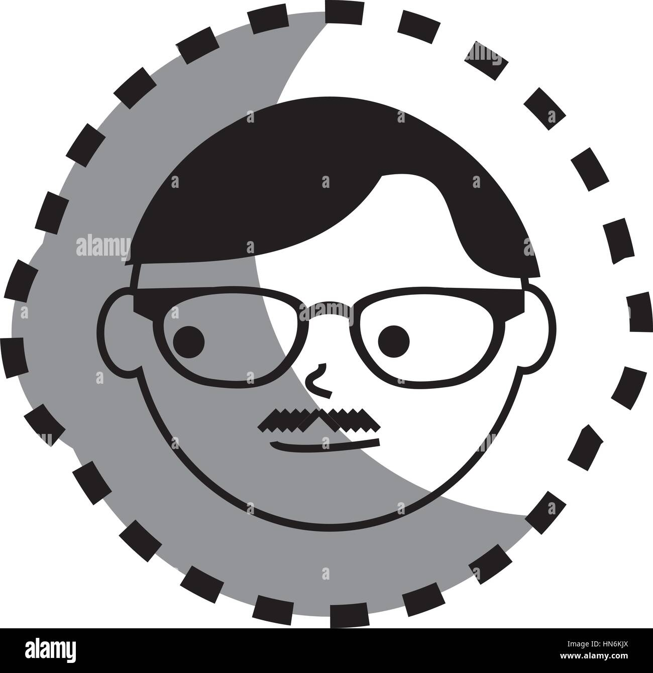 Autocollant avec visage homme monochrome avec lunettes et moustache english style vector illustration photo stock