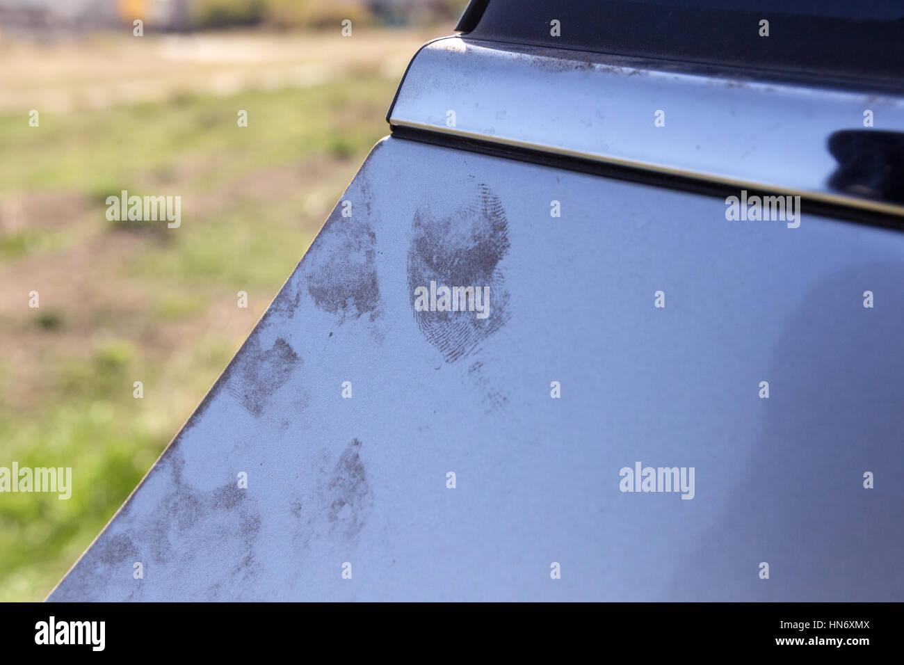 Enquête de vol de voiture Photo Stock