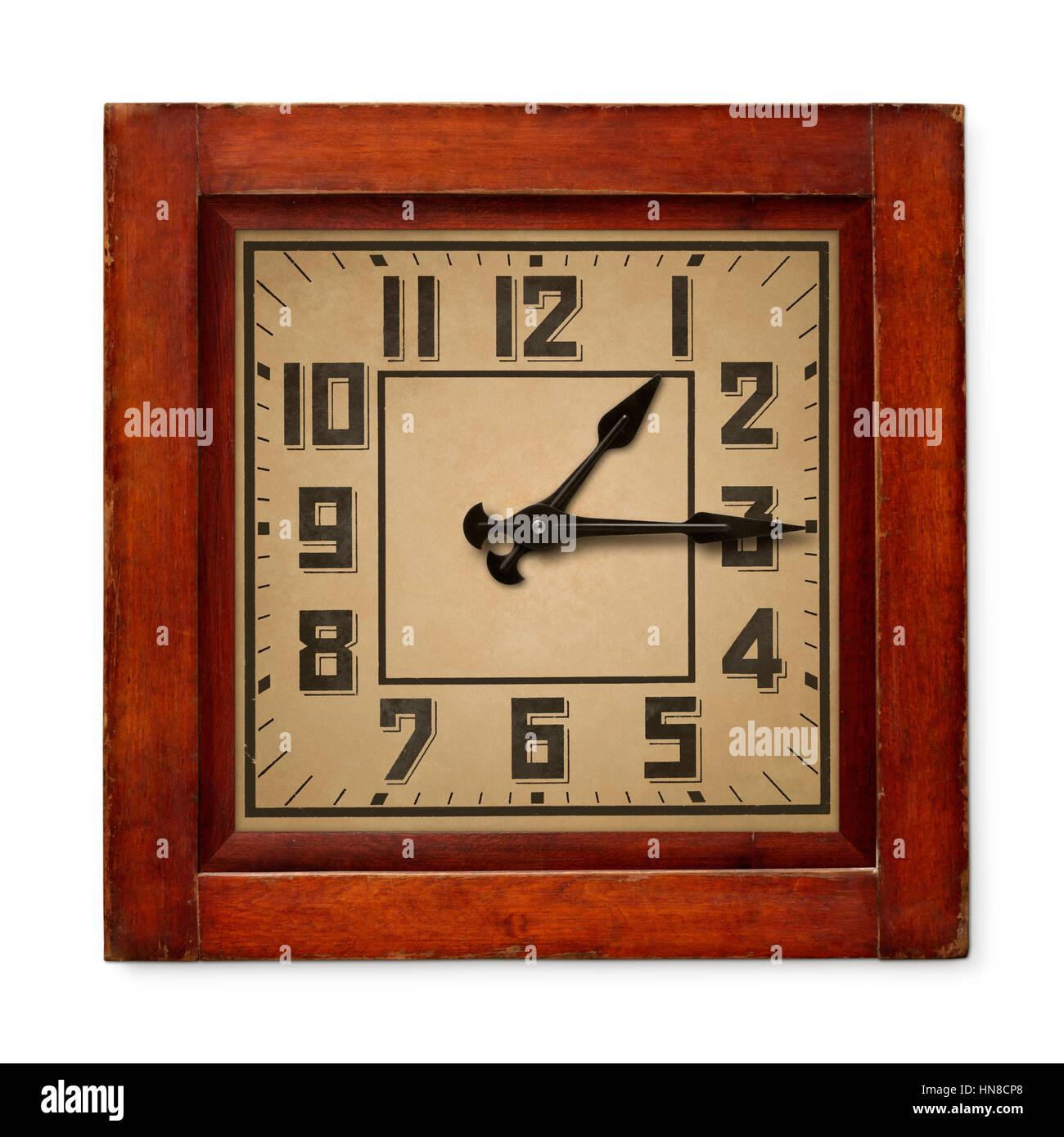 objets isol s vieille horloge murale en bois carr isol sur fond blanc banque d 39 images. Black Bedroom Furniture Sets. Home Design Ideas
