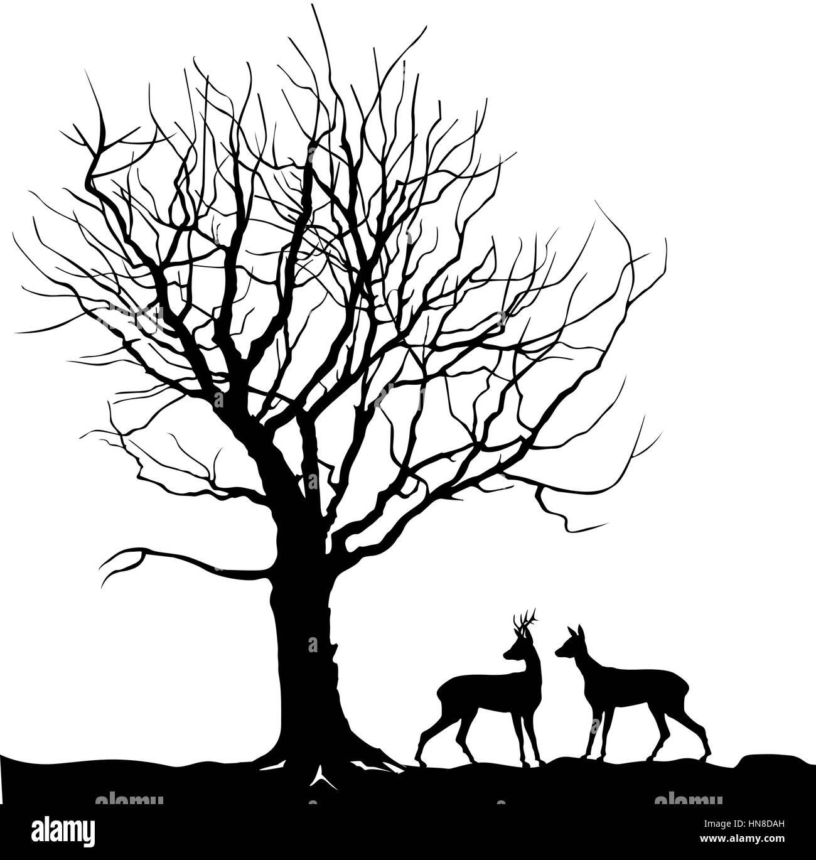 Plus d'animaux de la forêt arbres paysage avec deer. abstract vector illustration de la forêt d'hiver. vector illustration silhouette de belle famille un cerf Illustration de Vecteur