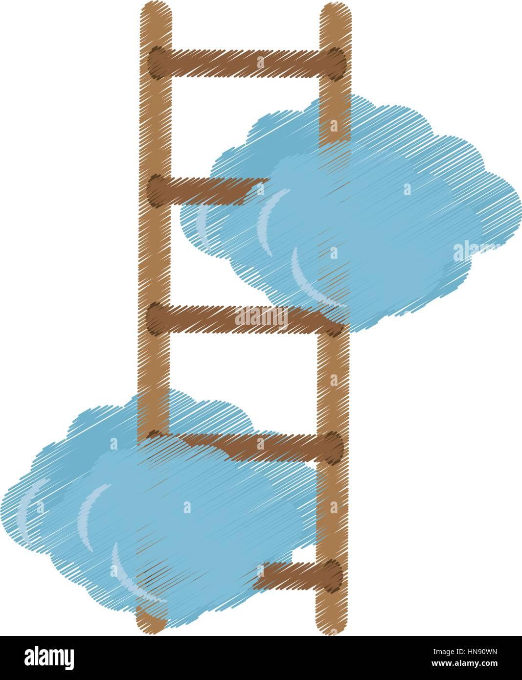 Les nuages avec échelle de droit, vector illustration design Illustration de Vecteur