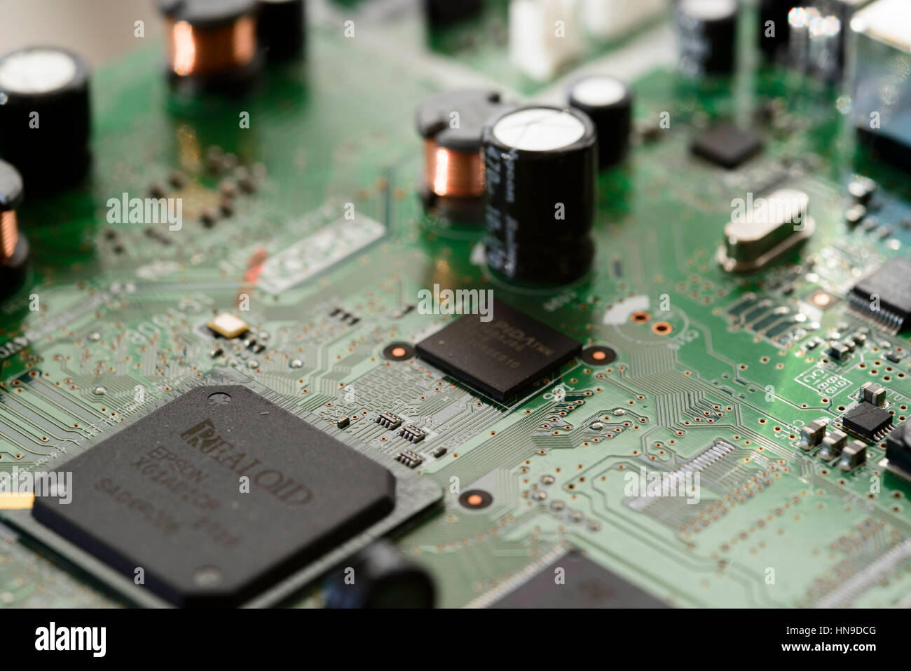 Close-up of electronic circit board Photo Stock