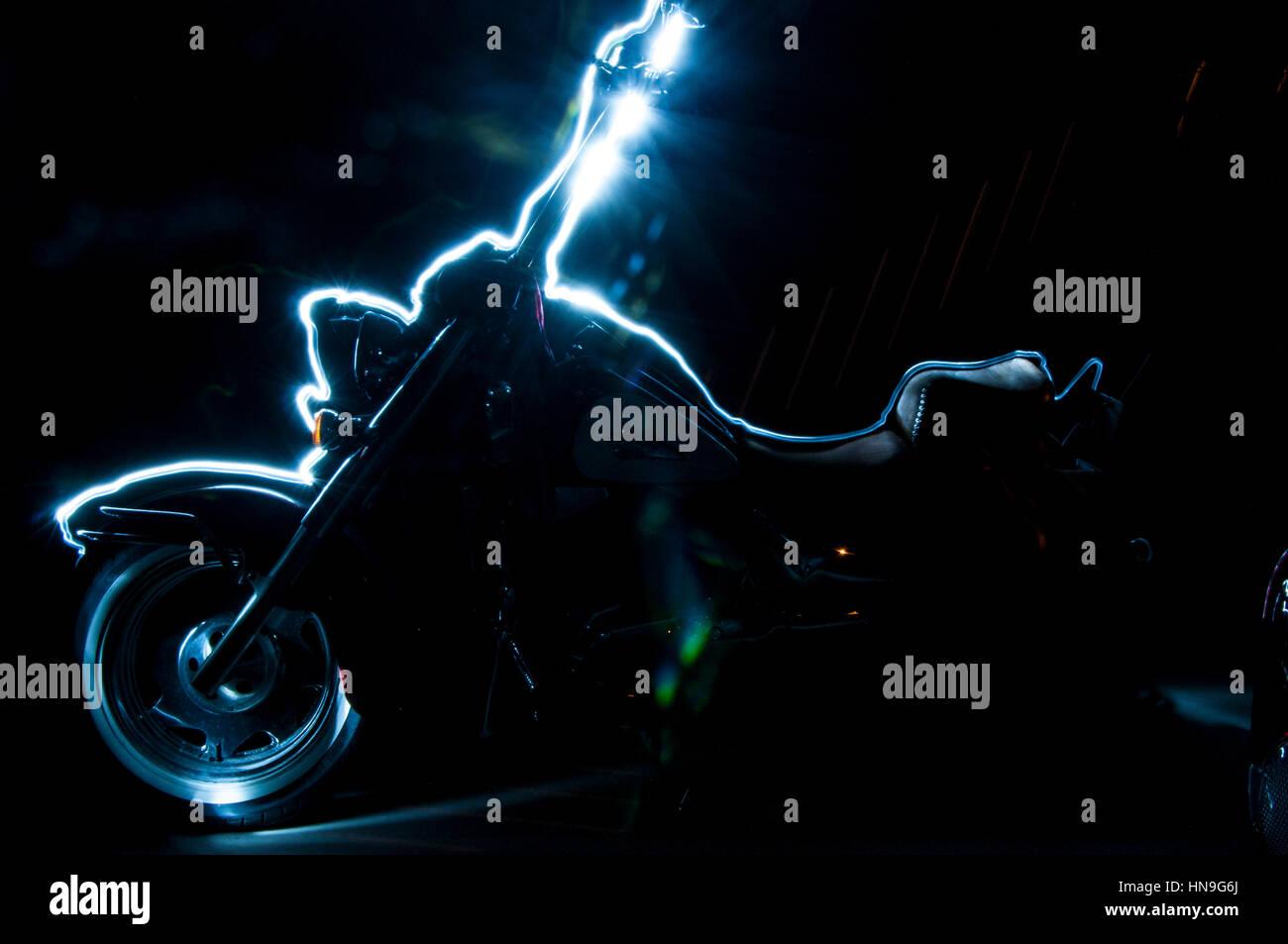 Moto light painting Banque D'Images