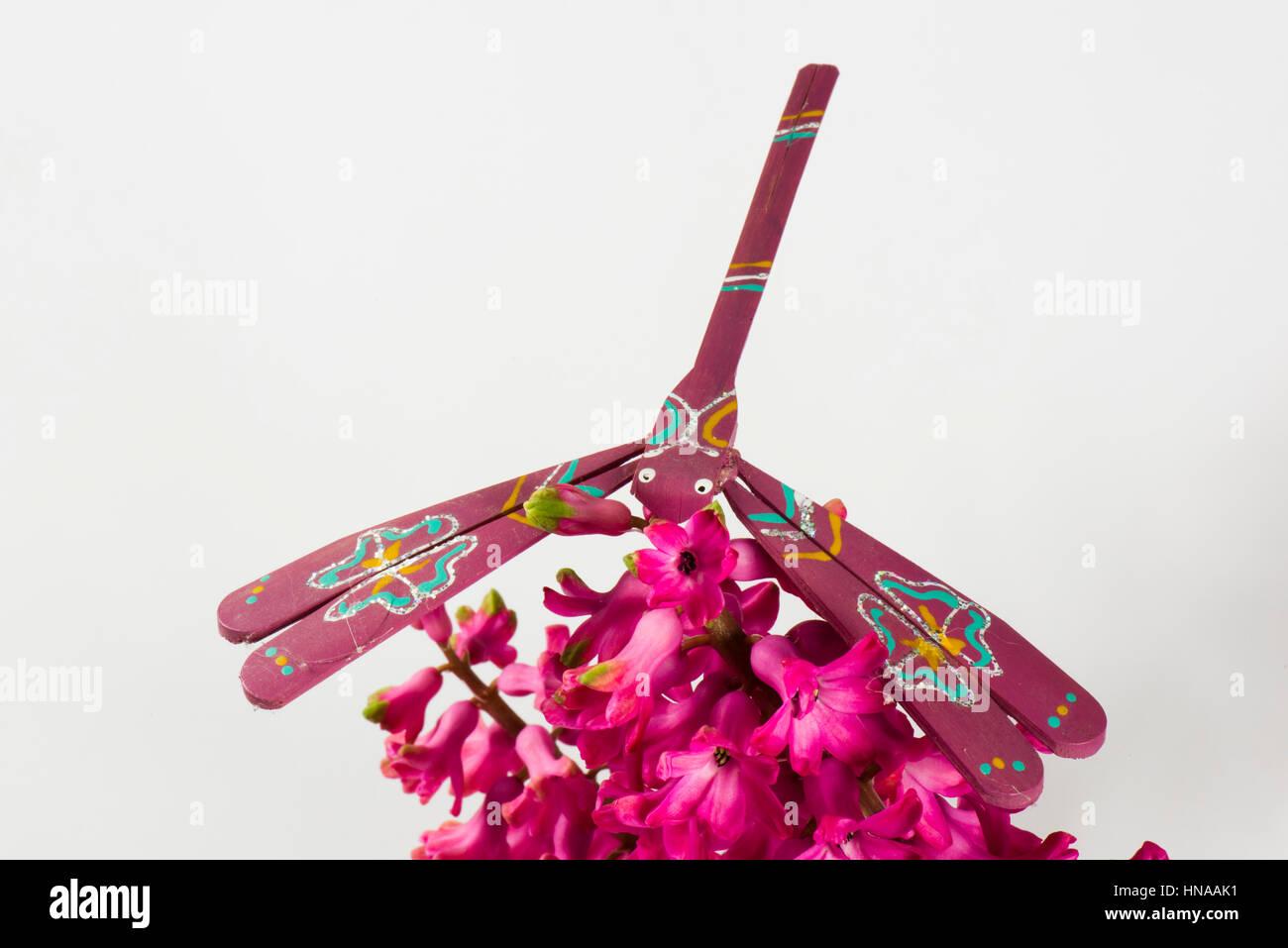 Libellule jouet d'équilibrage fait en bambou et peint à la main en équilibre sur une fleur jacinthe Photo Stock