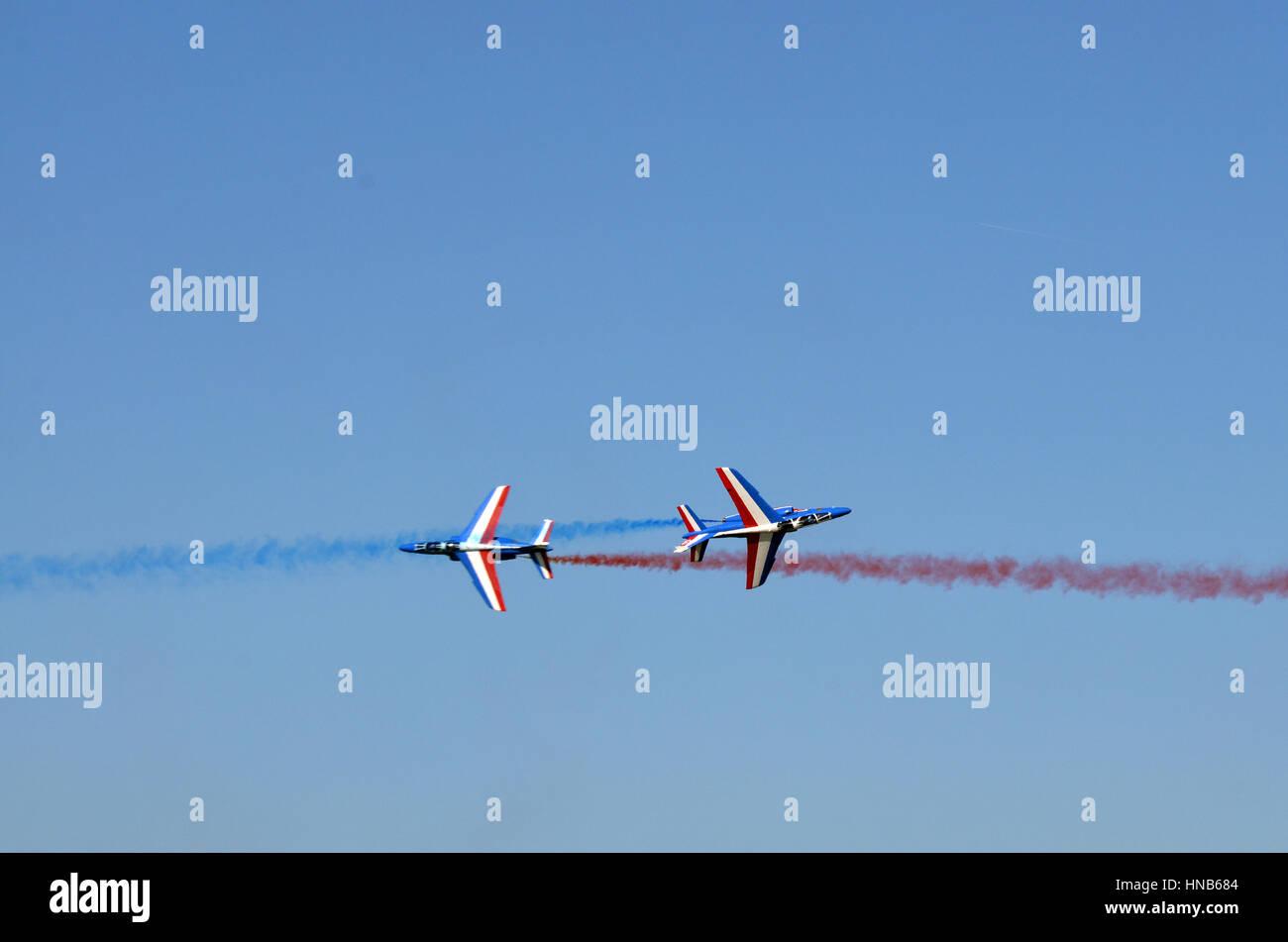 Jet de l'air en vol de patrouille manifestation à Toulouse Francazal. Banque D'Images